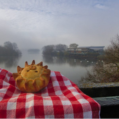 vegan pie overlooking lake