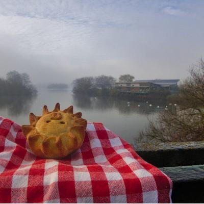 vegan pie overlooking lake