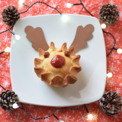 Xmas vegan pie with reindeer face