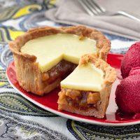 Rhubarb and Custard sweet pie close up